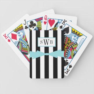 CHIC PLAYING CARDS_BLACK/WHITE STRIPES_AQUA BOW POKER DECK