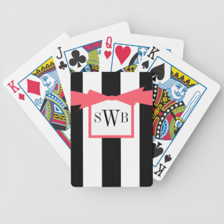CHIC PLAYING CARDS_BLACK/WHITE STRIPES_CORAL BOW POKER DECK