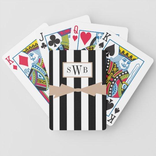 CHIC PLAYING CARDS_BLACK/WHITE STRIPES/HAZELNUT POKER DECK