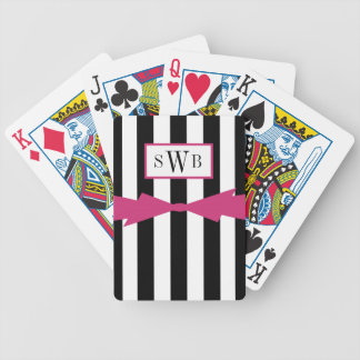 CHIC PLAYING CARDS_BLACK/WHITE STRIPES/PINK BICYCLE PLAYING CARDS