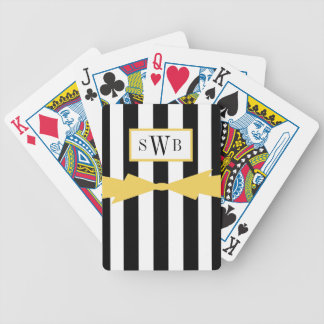 CHIC PLAYING CARDS_BLACK/WHITE STRIPES_YELLOW BOW POKER DECK