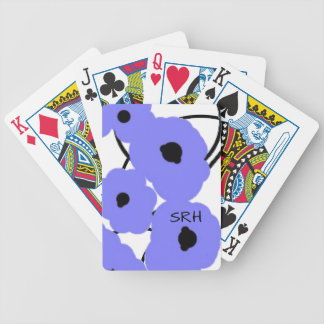 CHIC PLAYING CARDS_MOD PERIWINKLE & BLACK POPPIES BICYCLE PLAYING CARDS
