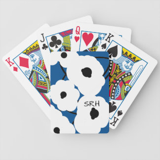 CHIC PLAYING CARDS_MOD WHITE & BLACK POPPIES BICYCLE PLAYING CARDS