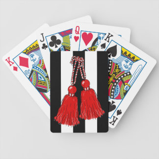 CHIC PLAYING CARDS_RED TASSEL/BLACK-WHITE STRIPES BICYCLE PLAYING CARDS