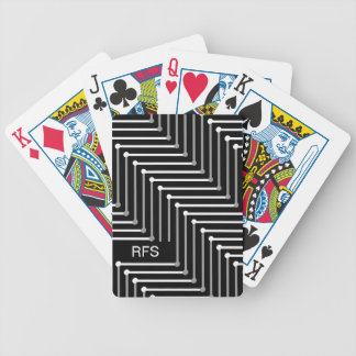 CHIC PLAYING CARDS_WHITE/GREY ZIGZAG ON BLACK BICYCLE PLAYING CARDS