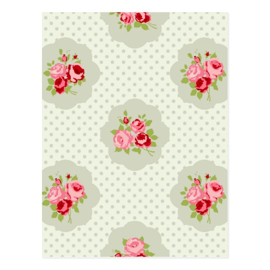 chic polka dot teal red floral white vintage pink postcard