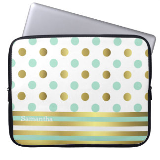 Chic Polka Dots and Stripes Laptop Bag Laptop Sleeves
