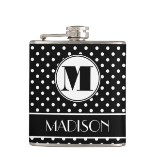 Chic Polka Dots Monogram Personalized Hip Flask