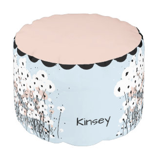 CHIC POOF_MOD, GIRLY PINK/WHITE & BLACK POPPIES POUF