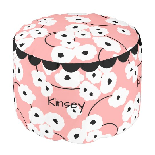 CHIC POOF_MOD, GIRLY WHITE & BLACK POPPIES POUF