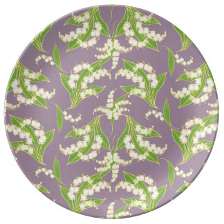 Chic Porcelain Plate: Lilies of the Valley, Mauve Plate