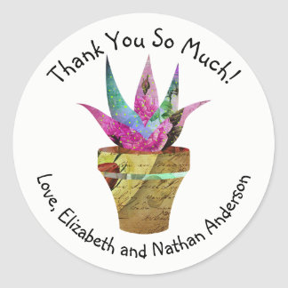 Chic Potted Cactus Thank You Personalized Round Sticker