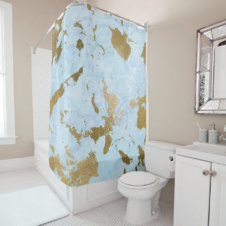Chic Powder Blue and Gold Marble