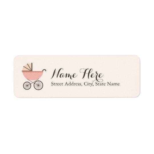 Chic Pram Girl Baby Shower Address Labels