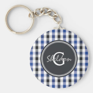 chic preppy blue black gingham pattern monogram keychain