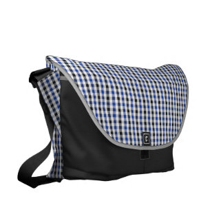 chic preppy blue black gingham pattern monogram courier bags