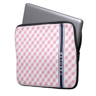 chic preppy pink navy gingham pattern monogram laptop sleeve