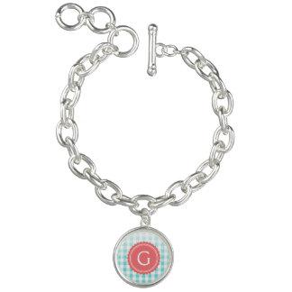 chic preppy turquoise gingham pattern monogram bracelets