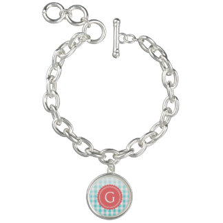 chic preppy turquoise gingham pattern monogram charm bracelet