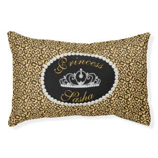 Chic Princess Leopard Print Name Monogram Pet Bed