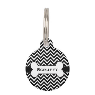 Chic Puppy Stylish Chevron Dog Tag with Name
