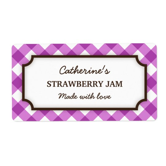 Chic purple and white gingham canning jar labels
