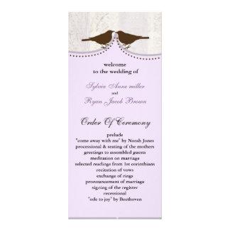 Chic purple bird cage, love birds wedding programs custom rack cards