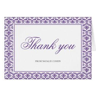 Chic Purple Damask Bat Mitzvah Thank You Card