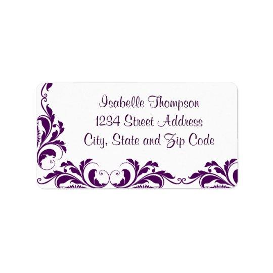 Chic Purple Damask Flourish Border Label