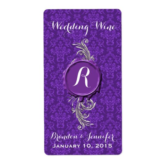Chic Purple Damask Wedding Mini Wine Labels