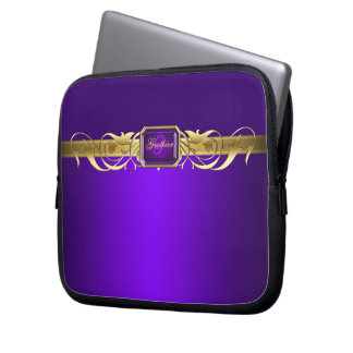 Chic Purple Faux Gold Scroll Two Tone Laptop Laptop Sleeve