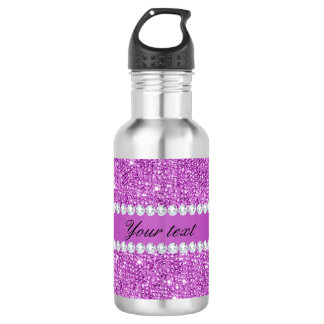 Chic Purple Faux Sequins and Diamonds 532 Ml Water Bottle