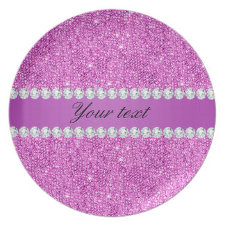 Chic Purple Faux Sequins and Diamonds Dinner Plates