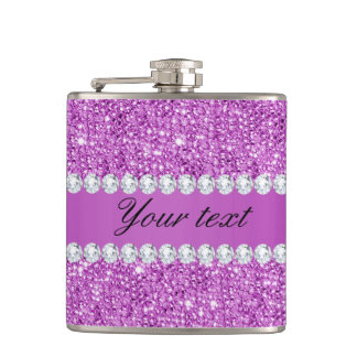 Chic Purple Faux Sequins and Diamonds Flasks
