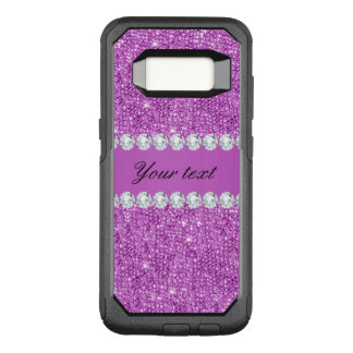 Chic Purple Faux Sequins and Diamonds OtterBox Commuter Samsung Galaxy S8 Case