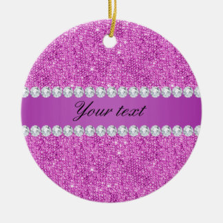 Chic Purple Faux Sequins and Diamonds Round Ceramic Ornament