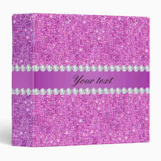 Chic Purple Faux Sequins and Diamonds Vinyl Binders