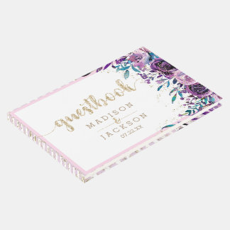 Chic Purple Floral Champagne Gold Wedding Monogram Guest Book
