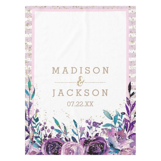 Chic Purple Floral Champagne Gold Wedding Monogram Tablecloth