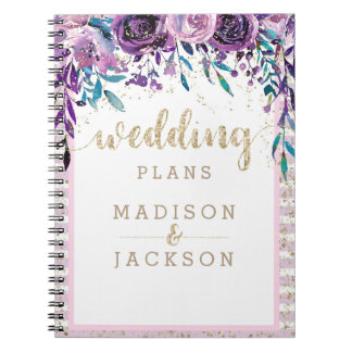 Chic Purple Floral Champagne Gold Wedding Planner Notebook