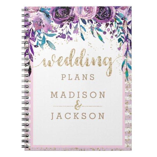 Chic Purple Floral Champagne Gold Wedding Planner Spiral Notebooks