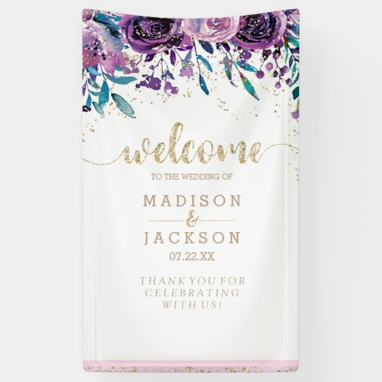 Chic Purple Floral Champagne Gold Wedding Welcome Banner