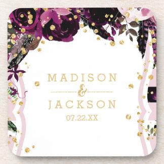 Chic Purple Floral Gold Confetti Wedding Monogram Coaster