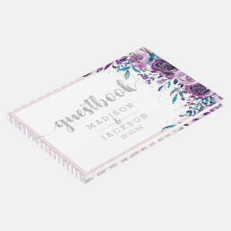 Chic Purple Floral & Silver Wedding Monogram Guest Book