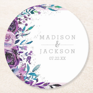 Chic Purple Floral & Silver Wedding Monogram Round Paper Coaster