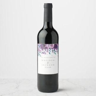 Chic Purple Floral & Silver Wedding Monogram Wine Label