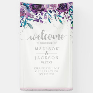 Chic Purple Floral & Silver Wedding Welcome Banner