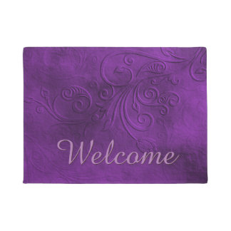 Chic Purple Flourish Welcome Door Mat