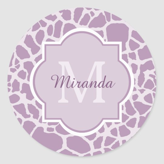 Chic Purple Giraffe Print With Monogram and Name Classic Round Sticker