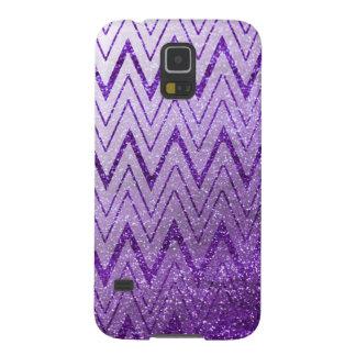 Chic Purple Glitter Gradient Chevron Pattern Galaxy S5 Cover